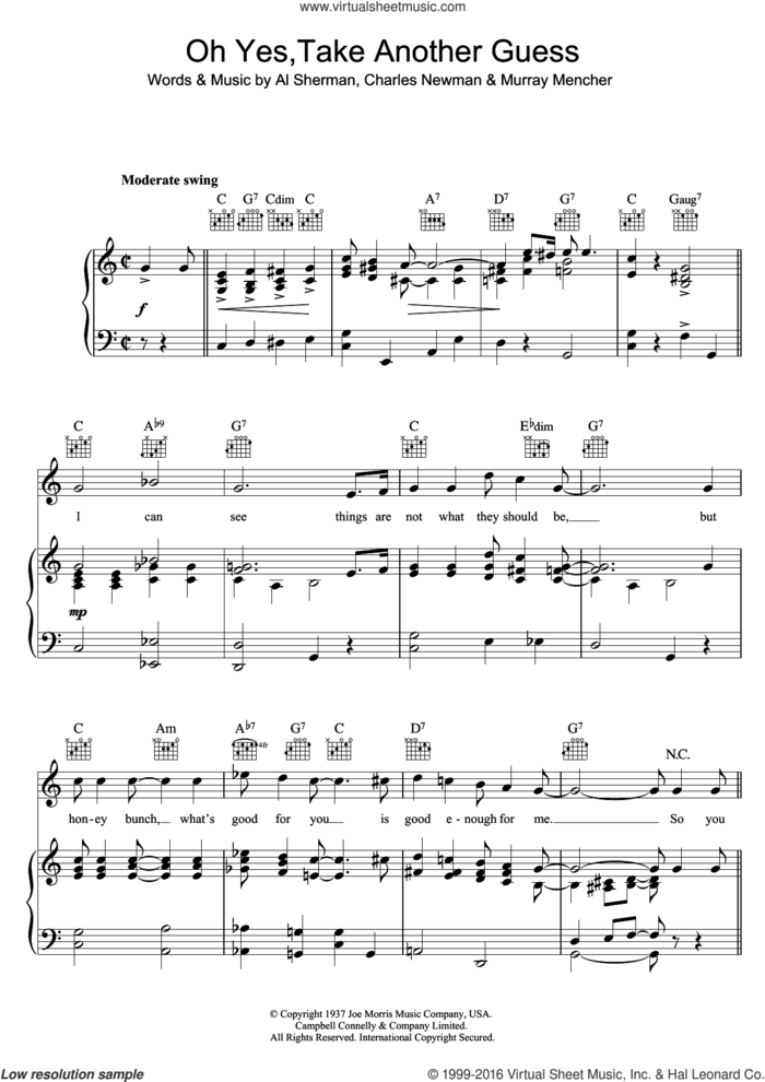 Oh Yes, Take Another Guess sheet music for voice, piano or guitar by Ella Fitzgerald, Al Sherman, Charles Newman and Murray Mencher, intermediate skill level