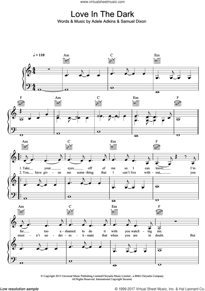 Love In The Dark sheet music for voice, piano or guitar by Adele, Adele Adkins and Samuel Dixon, intermediate skill level