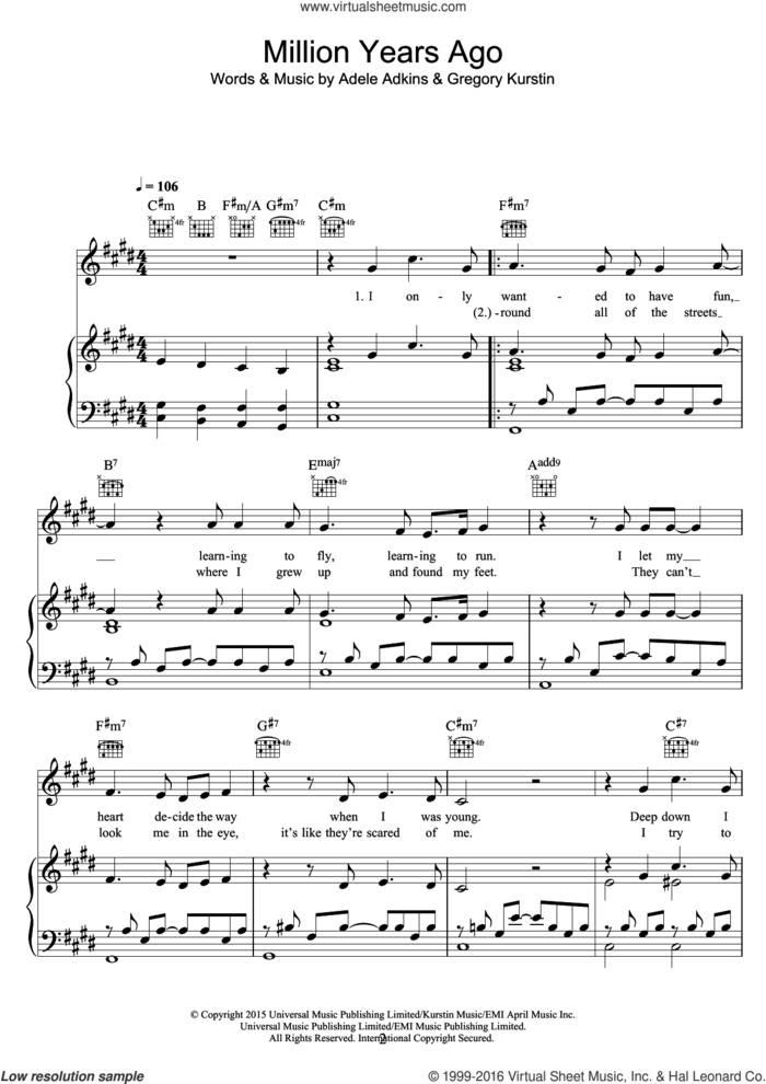 Million Years Ago sheet music for voice, piano or guitar by Adele, Adele Adkins and Greg Kurstin, intermediate skill level