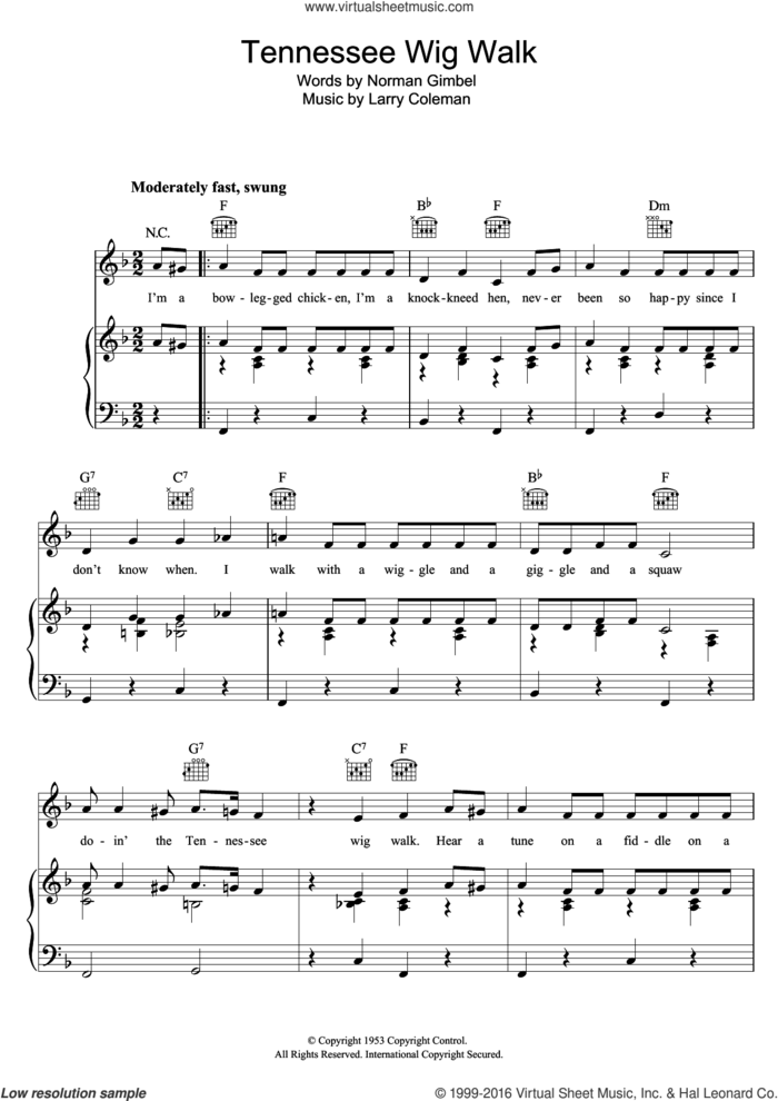 Tennessee Wig Walk sheet music for voice, piano or guitar by Bonnie Lou, Larry Coleman and Norman Gimbel, intermediate skill level