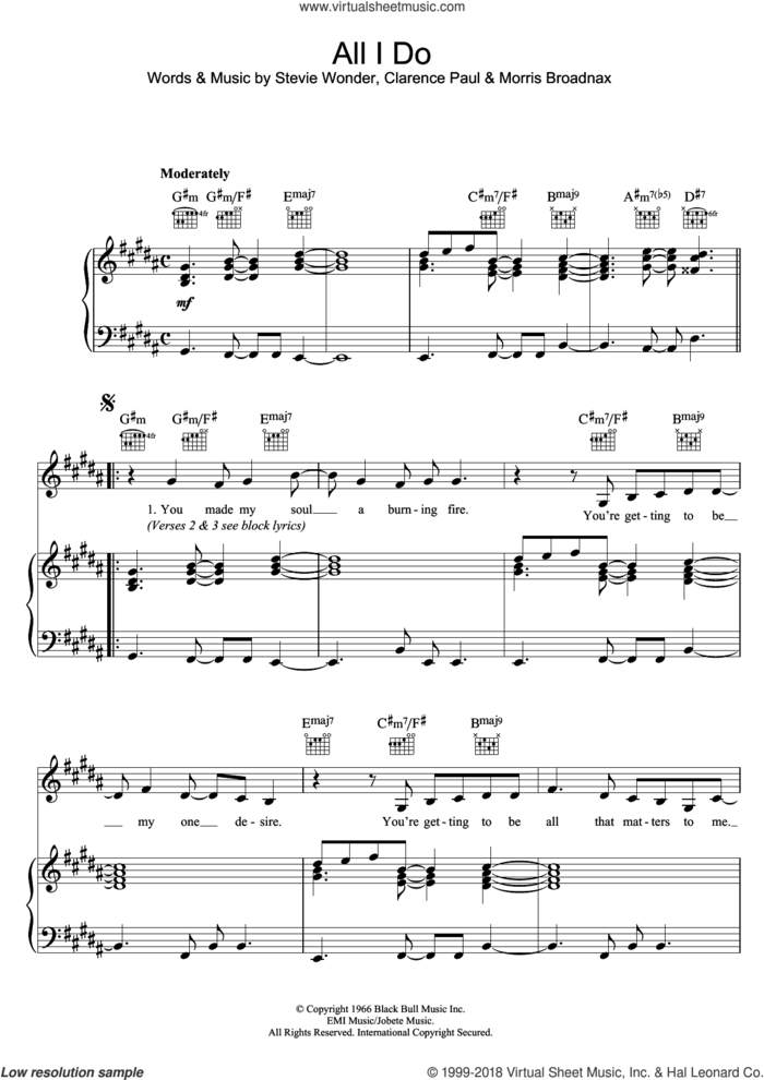 All I Do sheet music for voice, piano or guitar by Stevie Wonder, Clarence Paul and Morris Broadnax, intermediate skill level