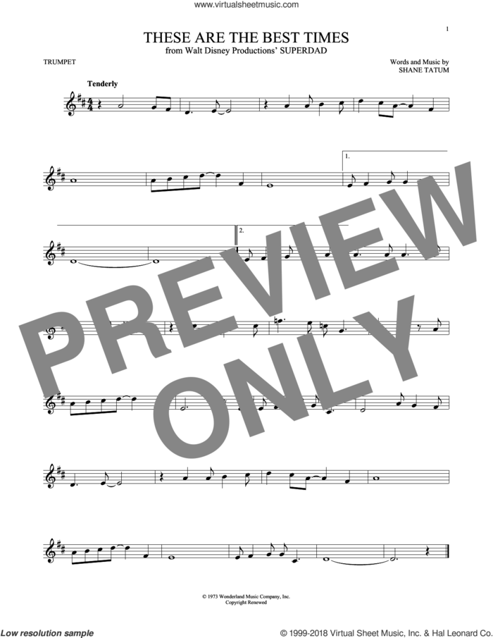 These Are The Best Times sheet music for trumpet solo by Shane Tatum, intermediate skill level