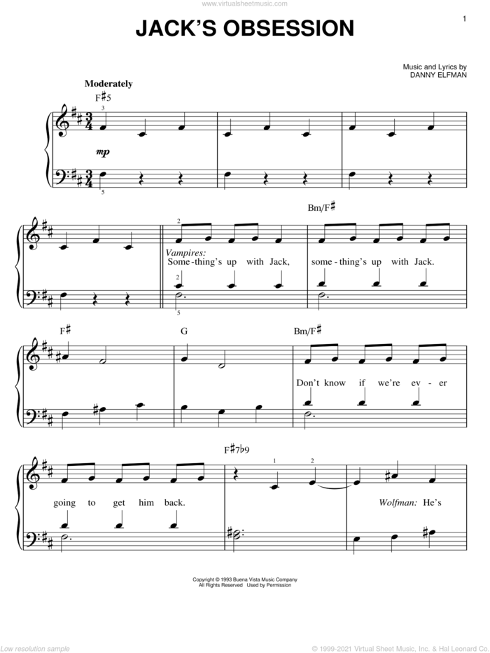 Jack's Obsession (from The Nightmare Before Christmas) sheet music for piano solo by Danny Elfman and The Nightmare Before Christmas (Movie), easy skill level