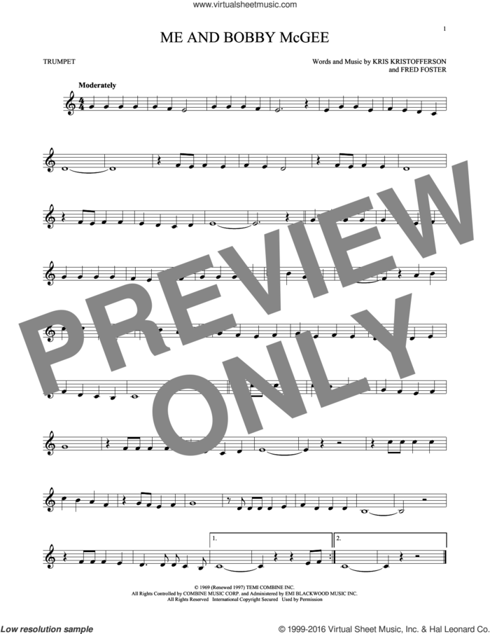 Me And Bobby McGee sheet music for trumpet solo by Kris Kristofferson, Janis Joplin, Roger Miller and Fred Foster, intermediate skill level