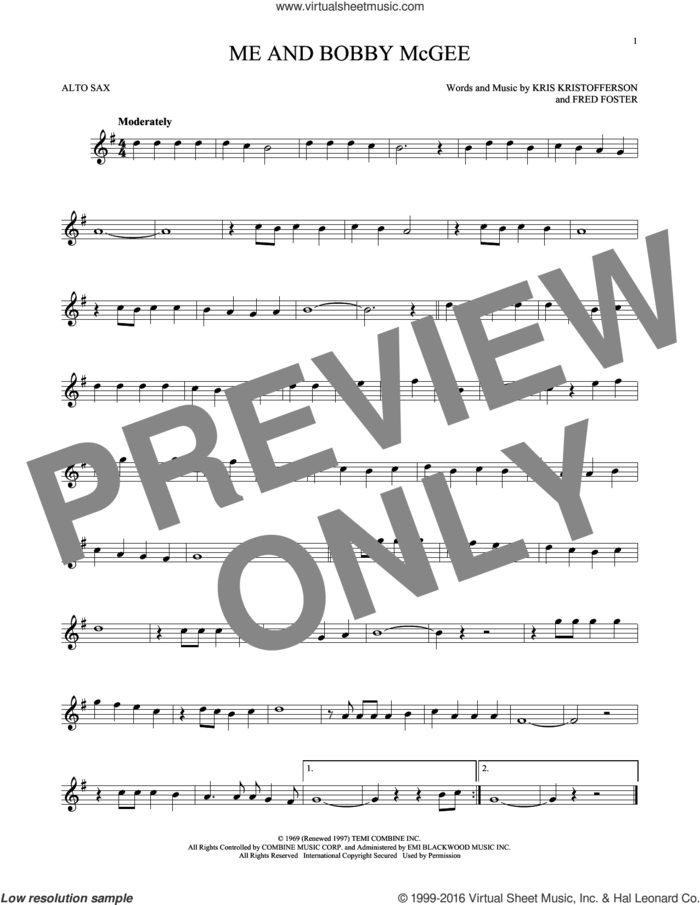 Me And Bobby McGee sheet music for alto saxophone solo by Kris Kristofferson, Janis Joplin, Roger Miller and Fred Foster, intermediate skill level