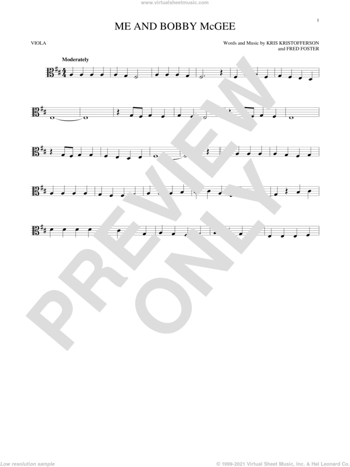 Me And Bobby McGee sheet music for viola solo by Kris Kristofferson, Janis Joplin, Roger Miller and Fred Foster, intermediate skill level