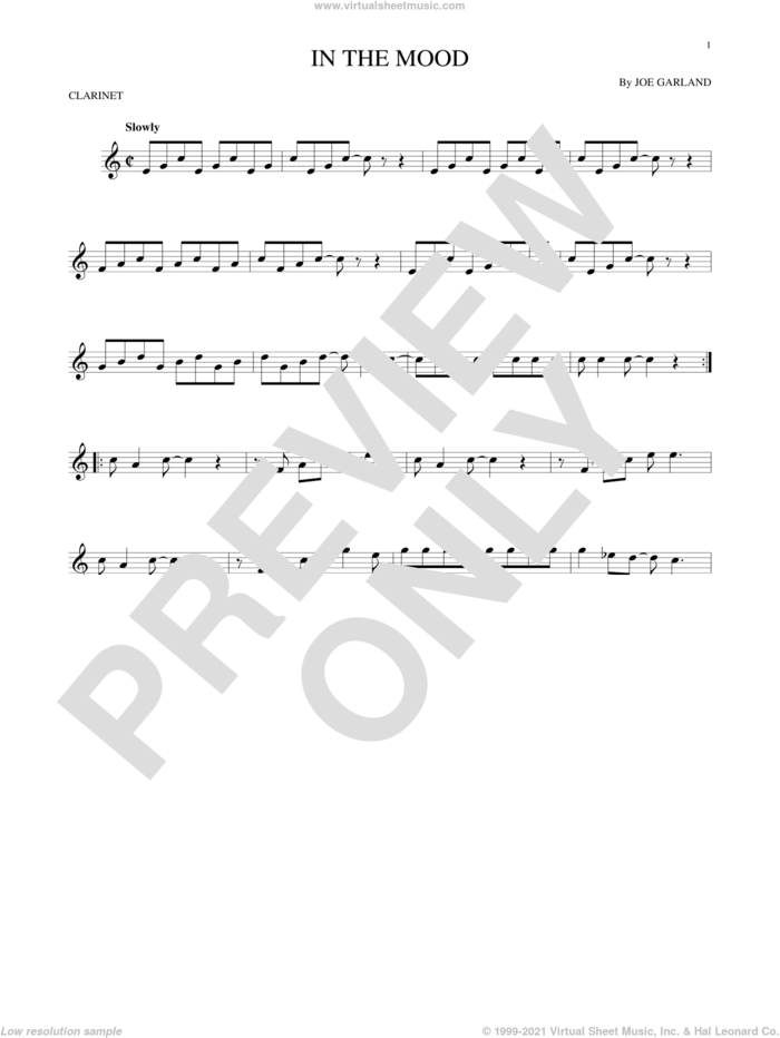In The Mood sheet music for clarinet solo by Joe Garland and Glenn Miller & His Orchestra, intermediate skill level