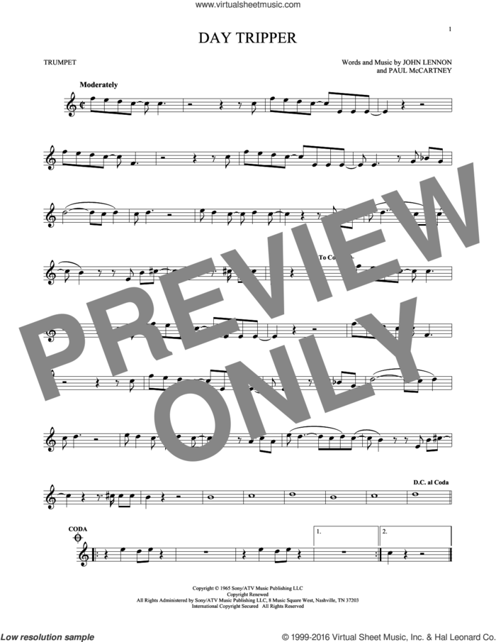 Day Tripper sheet music for trumpet solo by The Beatles, John Lennon and Paul McCartney, intermediate skill level
