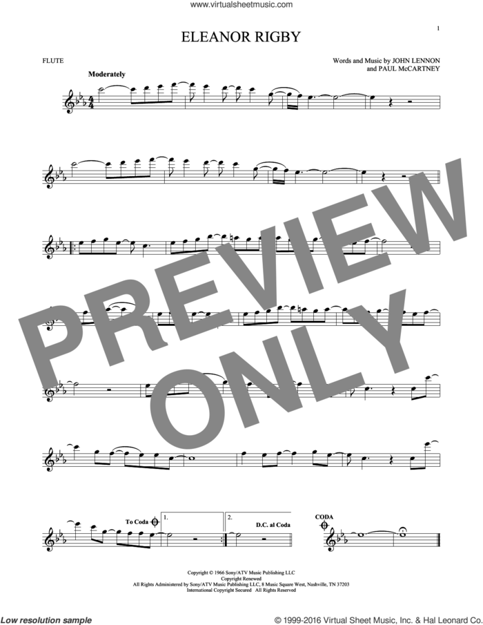 Eleanor Rigby sheet music for flute solo by The Beatles, David Cook, John Lennon and Paul McCartney, intermediate skill level