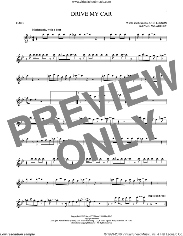 Drive My Car sheet music for flute solo by The Beatles, John Lennon and Paul McCartney, intermediate skill level