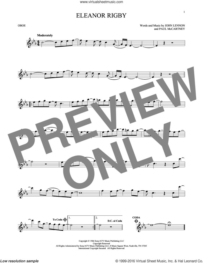 Eleanor Rigby sheet music for oboe solo by The Beatles, David Cook, John Lennon and Paul McCartney, intermediate skill level