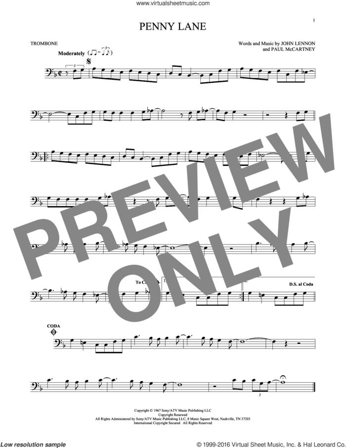 Penny Lane sheet music for trombone solo by The Beatles, John Lennon and Paul McCartney, intermediate skill level
