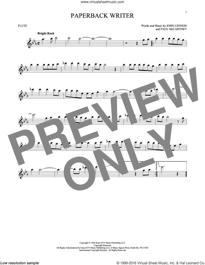 Paperback Writer sheet music for flute solo by The Beatles, John Lennon and Paul McCartney, intermediate skill level