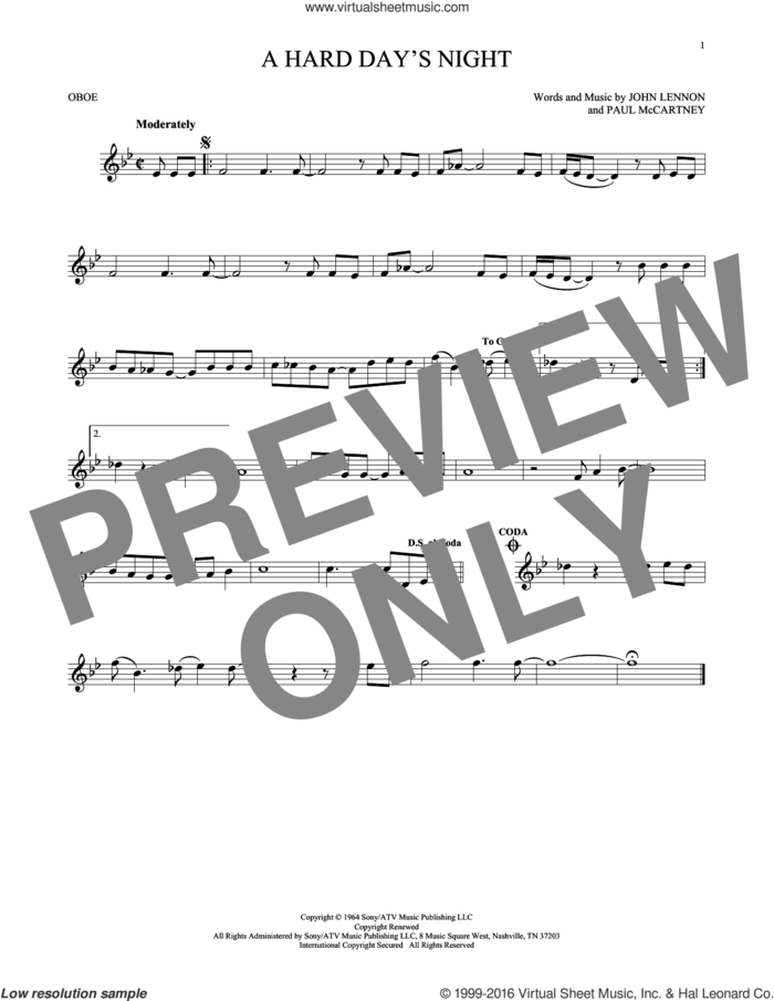 A Hard Day's Night sheet music for oboe solo by The Beatles, John Lennon and Paul McCartney, intermediate skill level