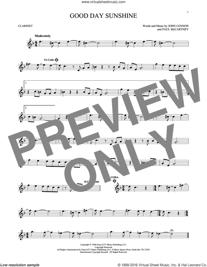 Good Day Sunshine sheet music for clarinet solo by The Beatles, John Lennon and Paul McCartney, intermediate skill level