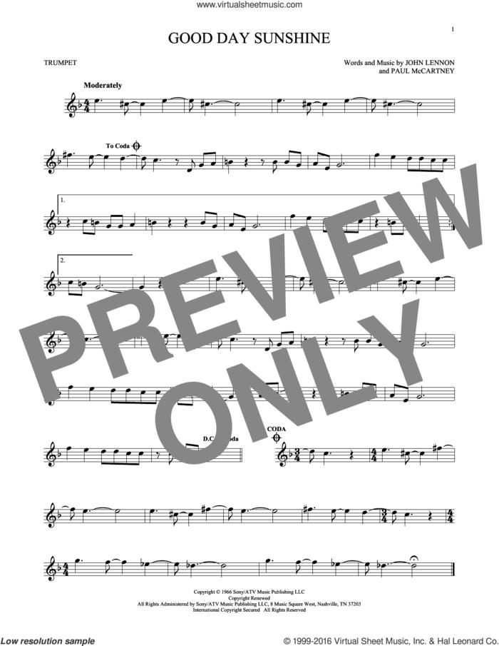 Good Day Sunshine sheet music for trumpet solo by The Beatles, John Lennon and Paul McCartney, intermediate skill level