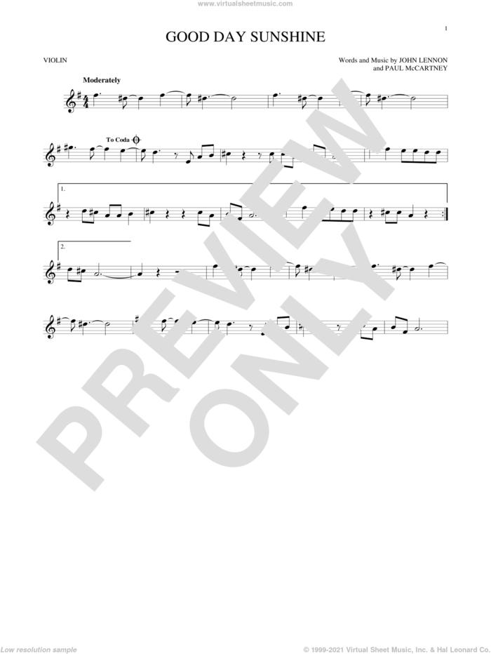 Good Day Sunshine sheet music for violin solo by The Beatles, John Lennon and Paul McCartney, intermediate skill level