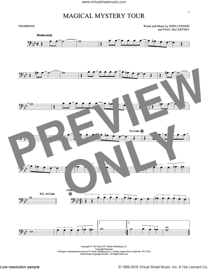 Magical Mystery Tour sheet music for trombone solo by The Beatles, John Lennon and Paul McCartney, intermediate skill level