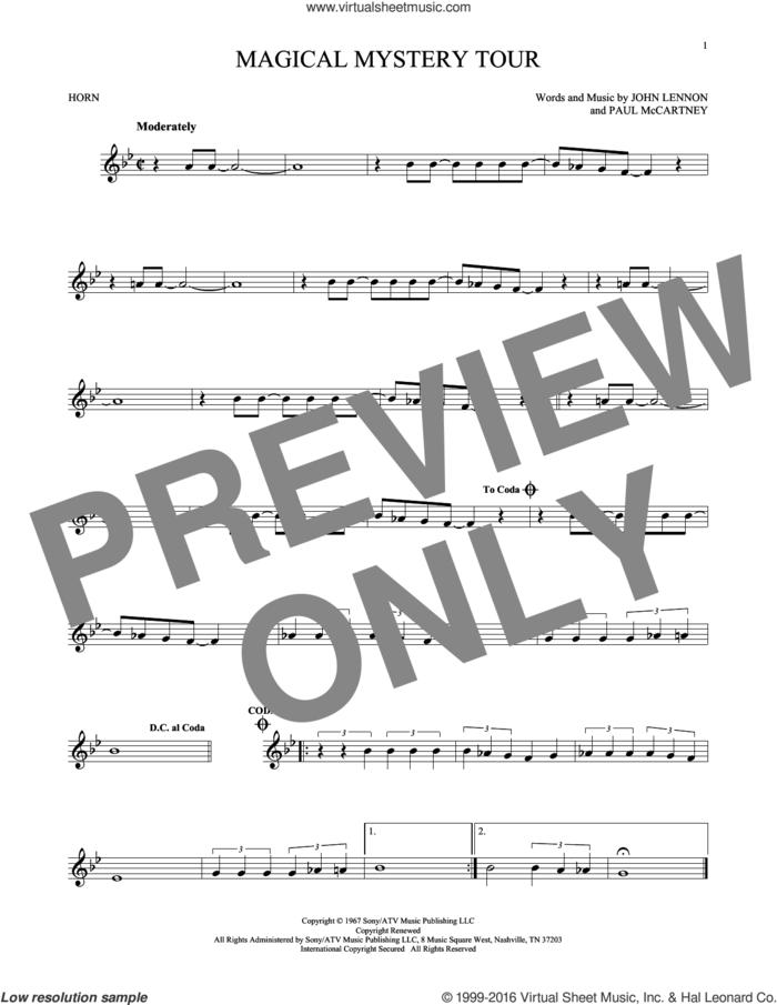 Magical Mystery Tour sheet music for horn solo by The Beatles, John Lennon and Paul McCartney, intermediate skill level