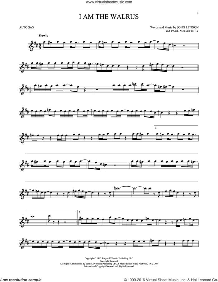 I Am The Walrus sheet music for alto saxophone solo by The Beatles, John Lennon and Paul McCartney, intermediate skill level