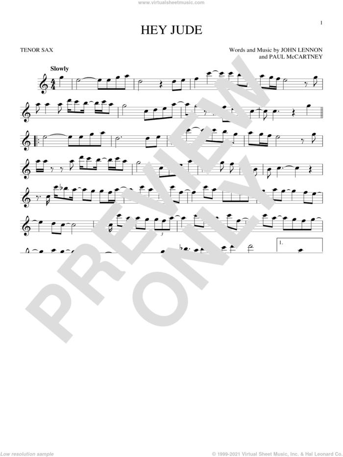 Hey Jude sheet music for tenor saxophone solo by The Beatles, John Lennon and Paul McCartney, intermediate skill level