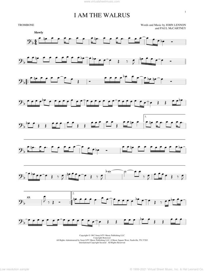 I Am The Walrus sheet music for trombone solo by The Beatles, John Lennon and Paul McCartney, intermediate skill level