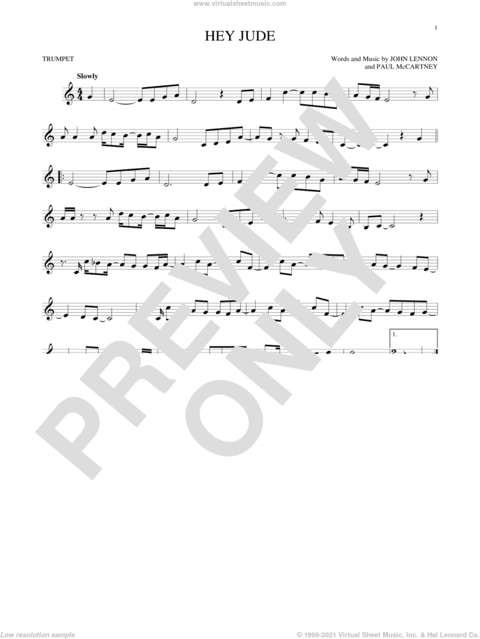 Hey Jude sheet music for trumpet solo by The Beatles, John Lennon and Paul McCartney, intermediate skill level