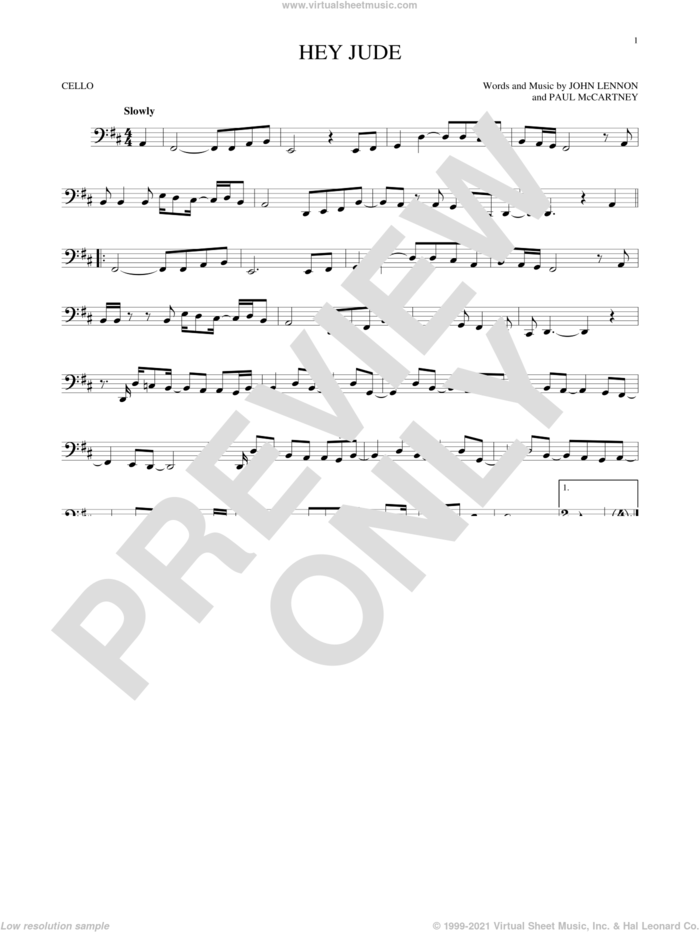 Hey Jude sheet music for cello solo by The Beatles, John Lennon and Paul McCartney, intermediate skill level