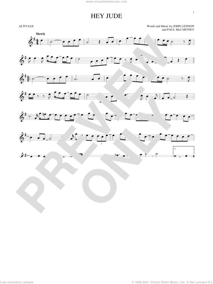 Hey Jude sheet music for alto saxophone solo by The Beatles, John Lennon and Paul McCartney, intermediate skill level