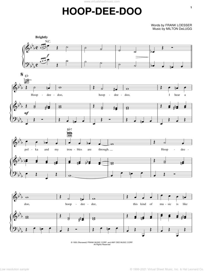 Hoop-Dee-Doo sheet music for voice, piano or guitar by Frank Loesser and Milton DeLugg, intermediate skill level