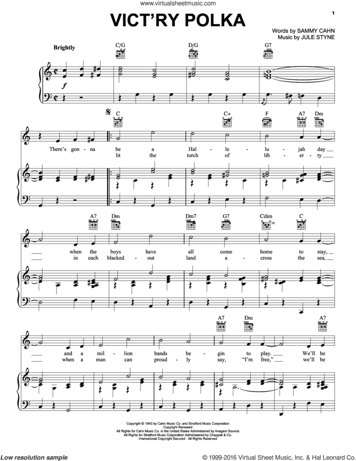 Vict'ry Polka sheet music for voice, piano or guitar by Jule Styne and Sammy Cahn, intermediate skill level