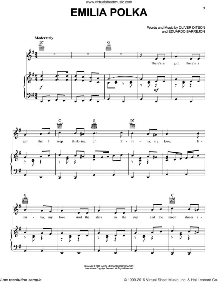 Emilia Polka sheet music for voice, piano or guitar by Oliver Ditson & Eduardo Barrejon, Eduardo Barrejon and Oliver Ditson, intermediate skill level