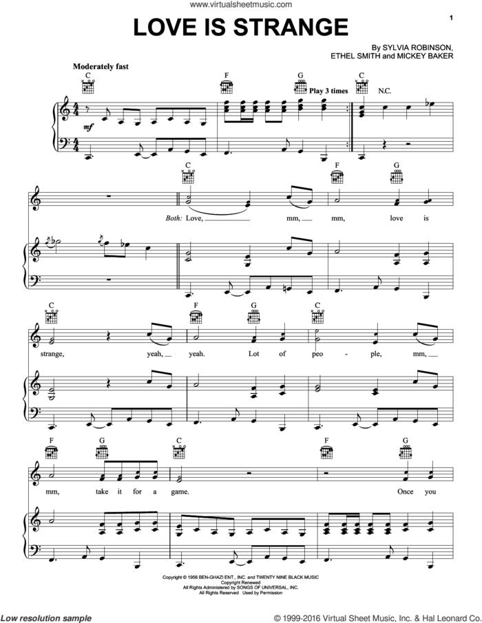 Love Is Strange sheet music for voice, piano or guitar by Mickey & Sylvia, Ethel Smith, Mickey Baker and Sylvia Robinson, intermediate skill level