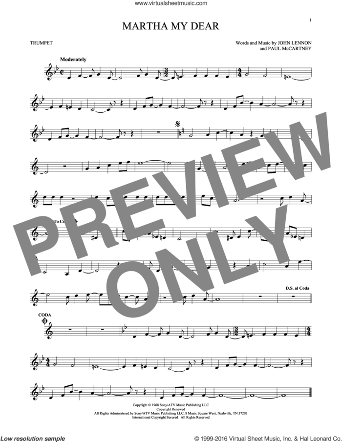 Martha My Dear sheet music for trumpet solo by The Beatles, John Lennon and Paul McCartney, intermediate skill level