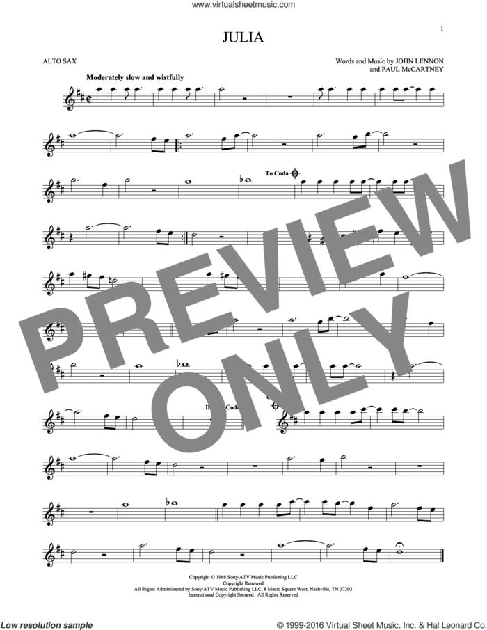 Julia sheet music for alto saxophone solo by The Beatles, John Lennon and Paul McCartney, intermediate skill level