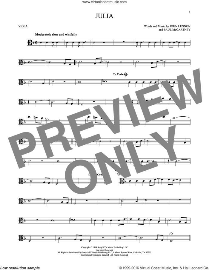 Julia sheet music for viola solo by The Beatles, John Lennon and Paul McCartney, intermediate skill level