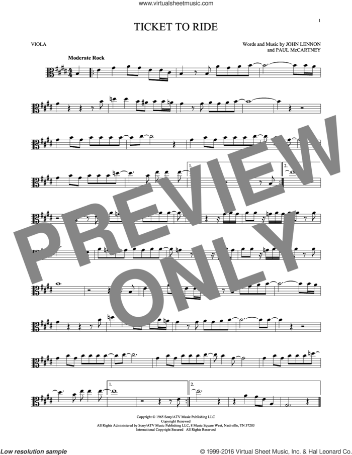 Ticket To Ride sheet music for viola solo by The Beatles, John Lennon and Paul McCartney, intermediate skill level