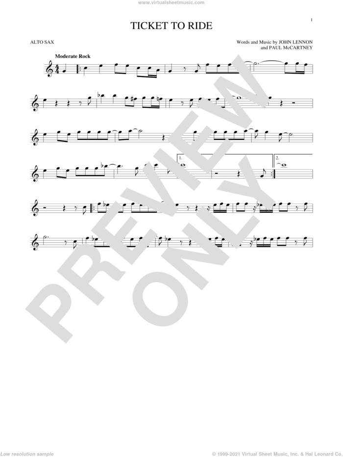 Ticket To Ride sheet music for alto saxophone solo by The Beatles, John Lennon and Paul McCartney, intermediate skill level