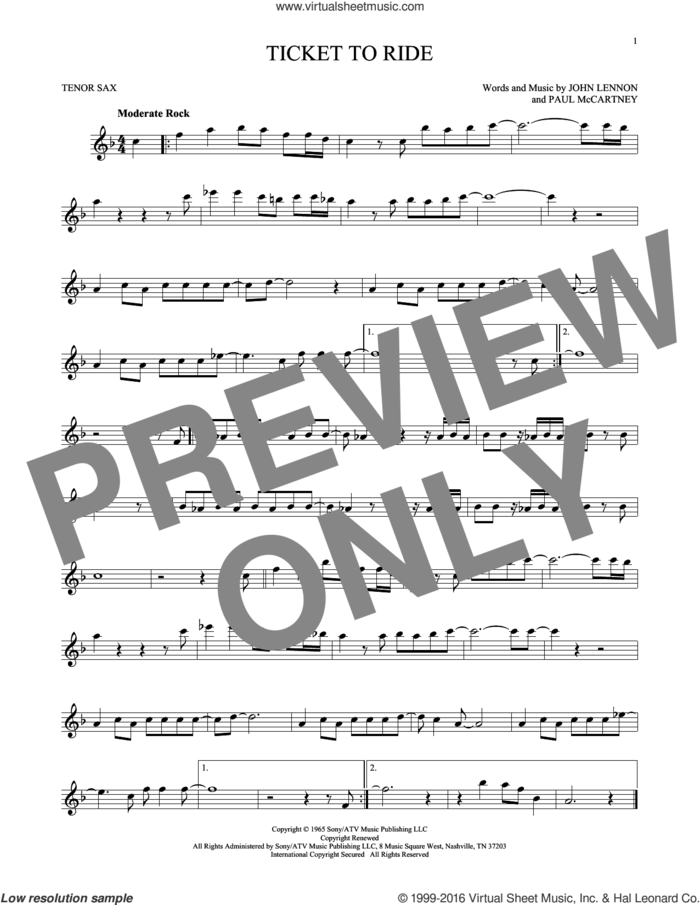 Ticket To Ride sheet music for tenor saxophone solo by The Beatles, John Lennon and Paul McCartney, intermediate skill level