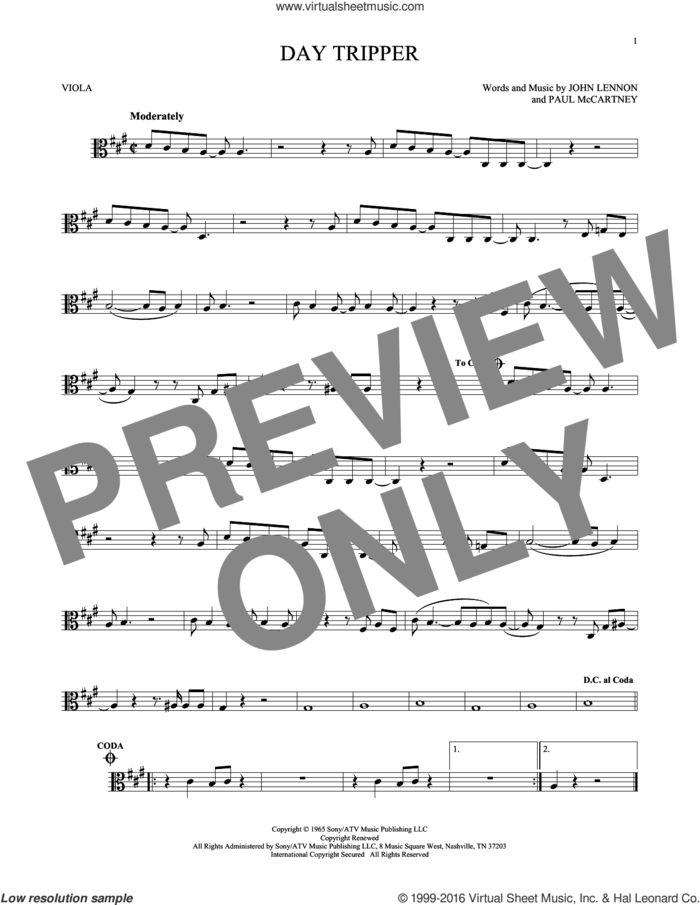 Day Tripper sheet music for viola solo by The Beatles, John Lennon and Paul McCartney, intermediate skill level