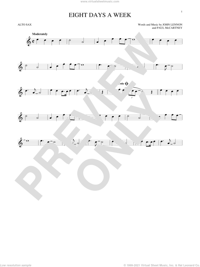 Eight Days A Week sheet music for alto saxophone solo by The Beatles, John Lennon and Paul McCartney, intermediate skill level