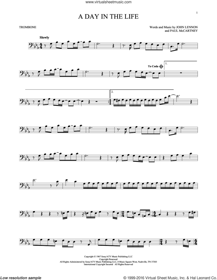 A Day In The Life sheet music for trombone solo by The Beatles, John Lennon and Paul McCartney, intermediate skill level