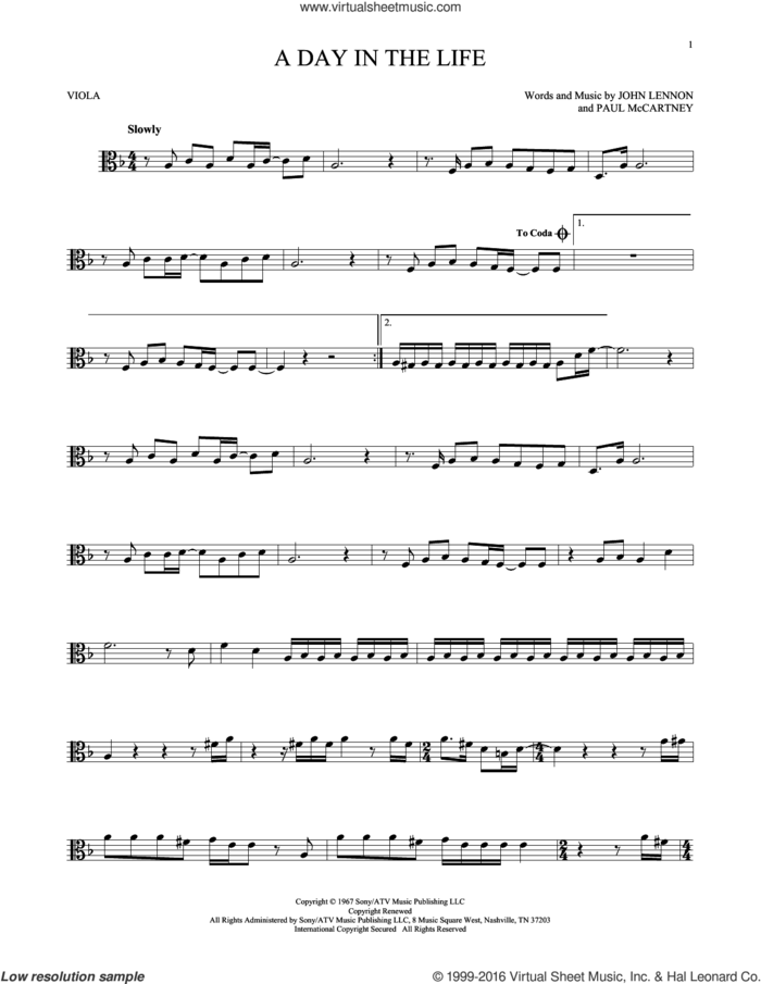 A Day In The Life sheet music for viola solo by The Beatles, John Lennon and Paul McCartney, intermediate skill level