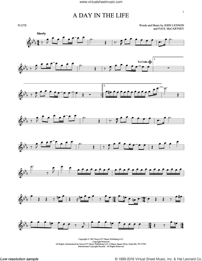 A Day In The Life sheet music for flute solo by The Beatles, John Lennon and Paul McCartney, intermediate skill level