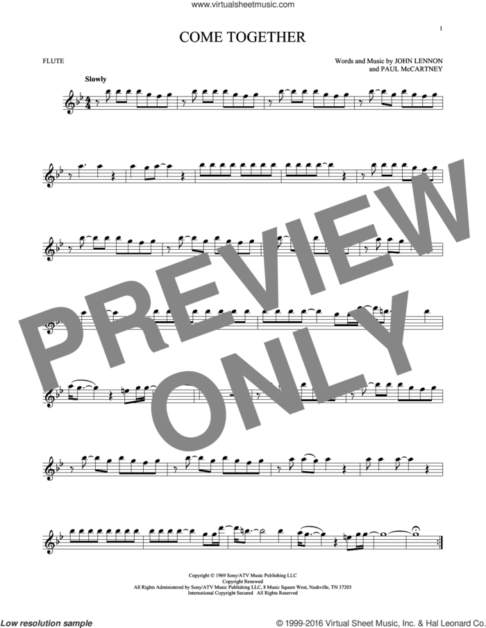 Come Together sheet music for flute solo by The Beatles, John Lennon and Paul McCartney, intermediate skill level