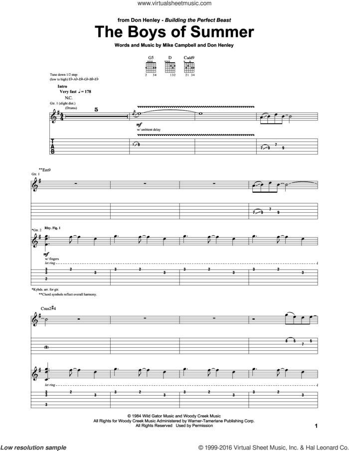 The Boys Of Summer sheet music for guitar (tablature) by Don Henley and Mike Campbell, intermediate skill level
