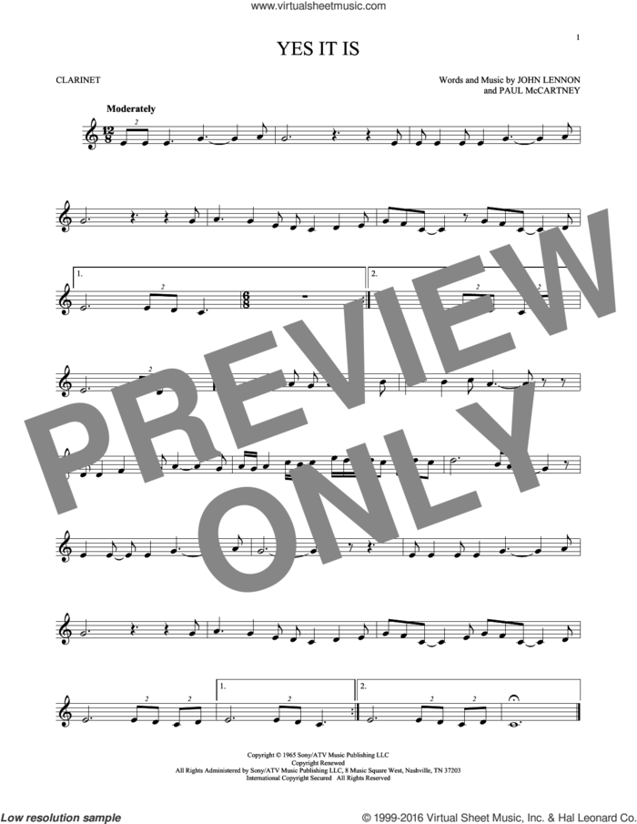Yes It Is sheet music for clarinet solo by The Beatles, John Lennon and Paul McCartney, intermediate skill level