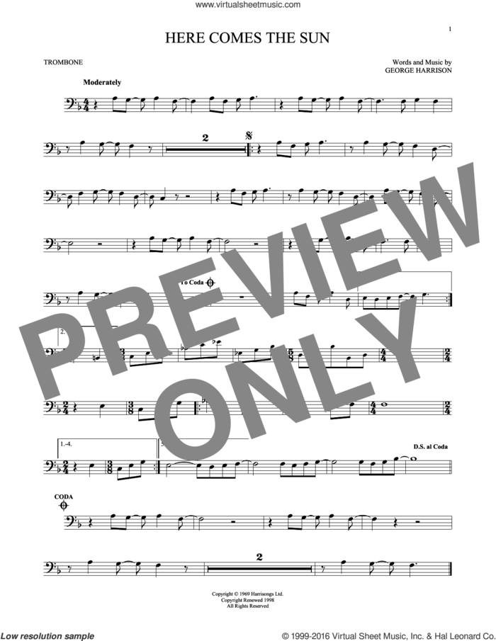 Here Comes The Sun sheet music for trombone solo by The Beatles and George Harrison, intermediate skill level