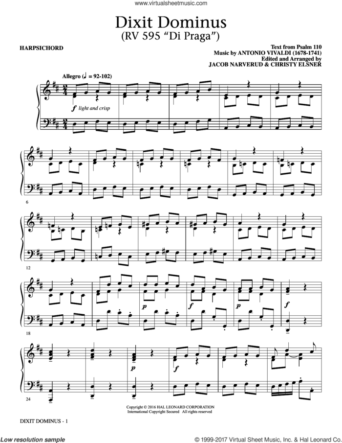 Dixit Dominus Instrumental Parts (complete set of parts) sheet music for orchestra/band by Antonio Vivaldi, Jacob Narverud and Psalm 110, classical score, intermediate skill level