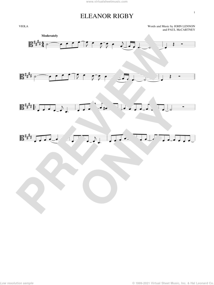 Eleanor Rigby sheet music for viola solo by The Beatles, John Lennon and Paul McCartney, intermediate skill level